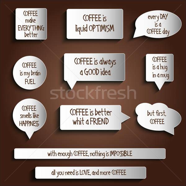 Címkék címkék gombok matricák üzenet kávé Stock fotó © balasoiu