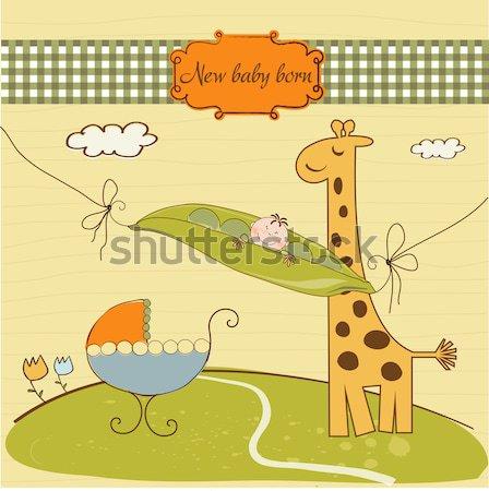 Puéril carte de vœux girafe amour heureux résumé Photo stock © balasoiu