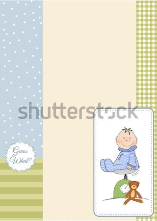 little baby boy play with his toys. shower card in vector format Stock photo © balasoiu