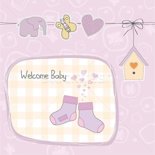 baby girl shower card with socks Stock photo © balasoiu