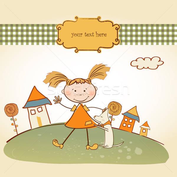 fun background with little girl Stock photo © balasoiu