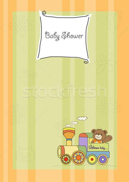 baby shower card with teddy bear and train toy Stock photo © balasoiu