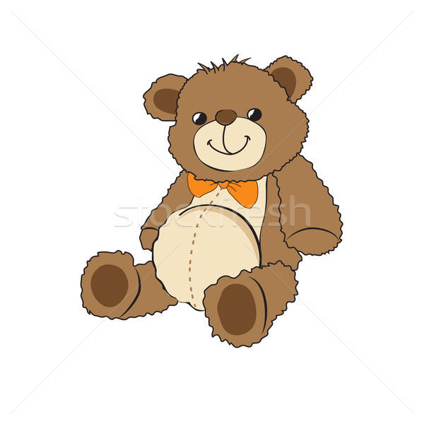 Cute teddy bear on white background Stock photo © balasoiu