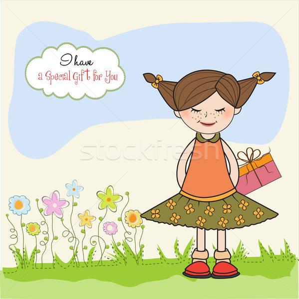 Izgatott fiatal lány irha különleges ajándék lány Stock fotó © balasoiu