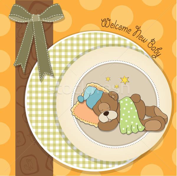 baby shower card with sleeping teddy bear Stock photo © balasoiu