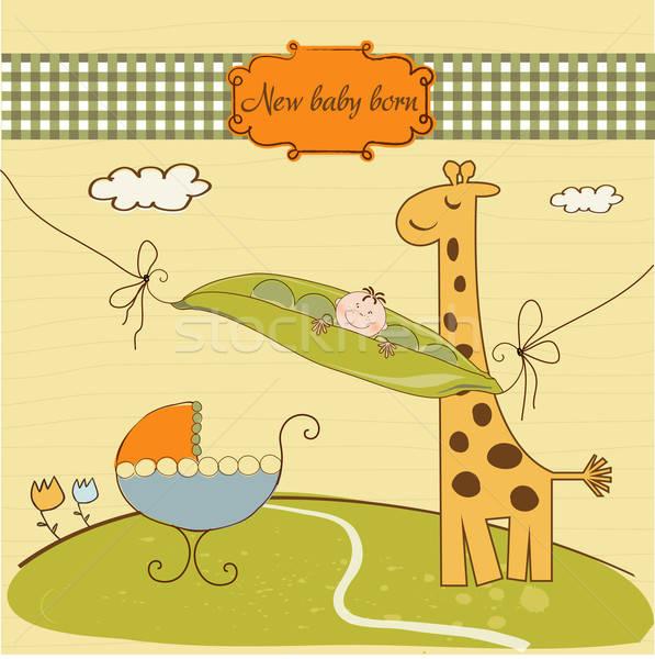 welcome card with cute pea bean and little giraffe Stock photo © balasoiu