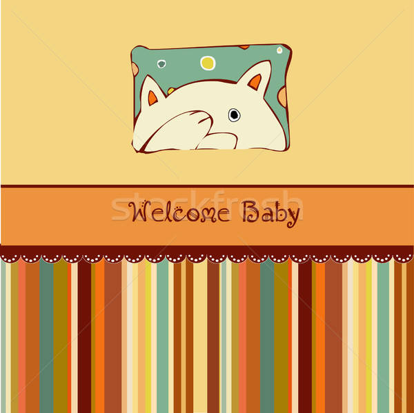Birth card announcement with cat Stock photo © balasoiu