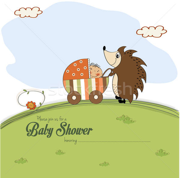 baby shower card with a hedgehog that pushes a stroller with bab Stock photo © balasoiu