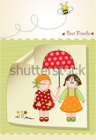 Bebê chuveiro anúncio cartão menina madeira Foto stock © balasoiu