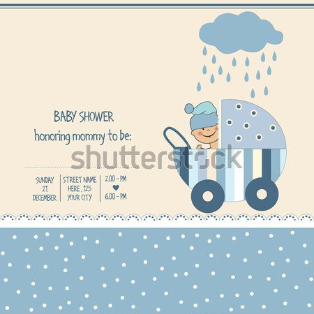 baby boy announcement card with baby and pram Stock photo © balasoiu