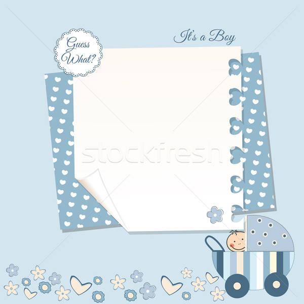 Baby jongen aankondiging wolken Blauw grappig Stockfoto © balasoiu
