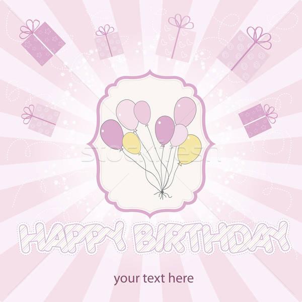 birthday card with balloons Stock photo © balasoiu