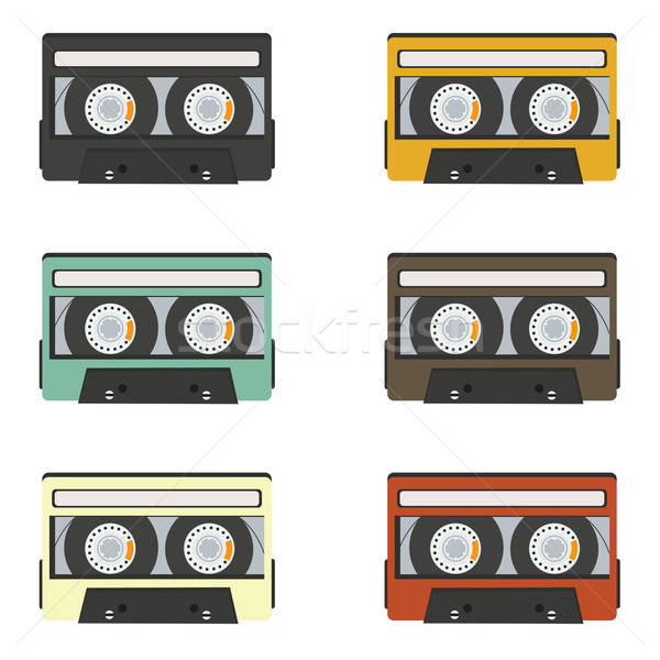 collection of retro audio tapes isolated on white background Stock photo © balasoiu
