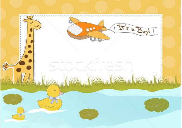 new baby announcement card with airplane Stock photo © balasoiu