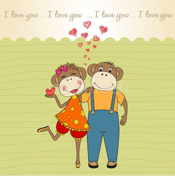 Majmok pár szeretet valentin nap kártya majom Stock fotó © balasoiu