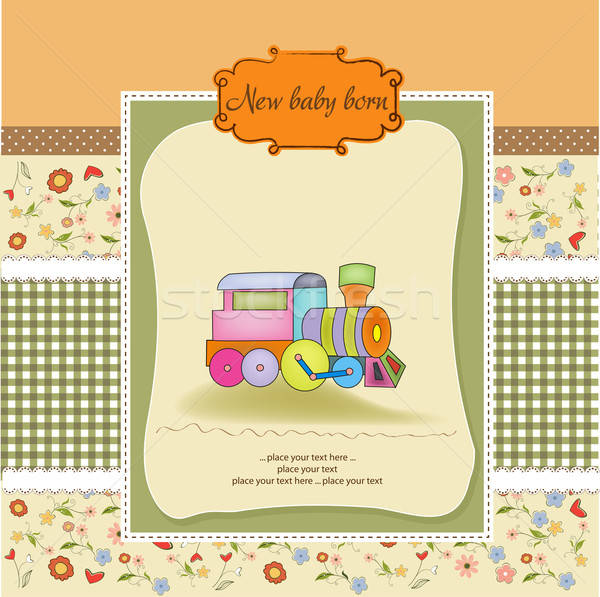 baby  shower card with toy train Stock photo © balasoiu