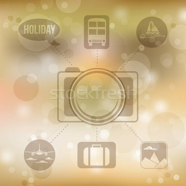 Set of flat design concept icons for holiday and travel on blurr Stock photo © balasoiu