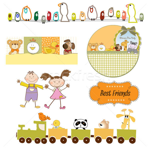 babies and toys items set in vector format Stock photo © balasoiu