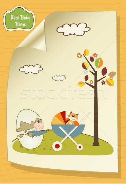 歓迎 カード 壊れた 卵 キャリッジ 花 ストックフォト © balasoiu