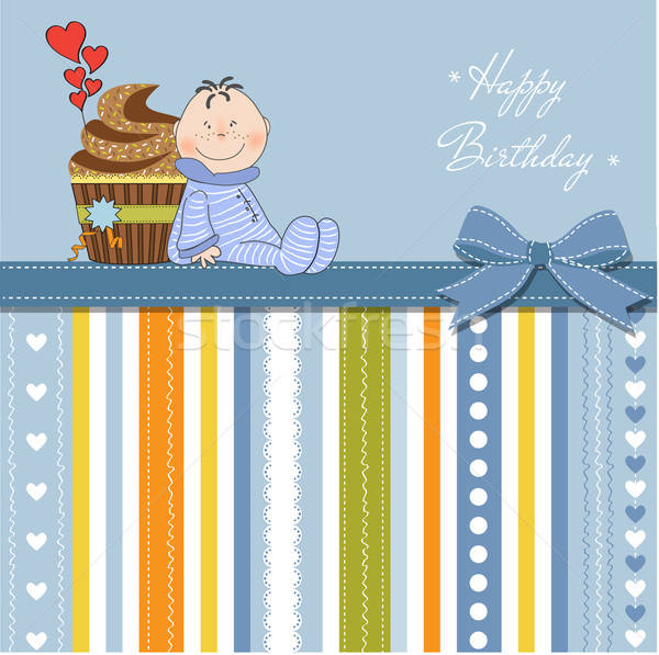 Aniversário cartão pequeno bebê fundo Foto stock © balasoiu