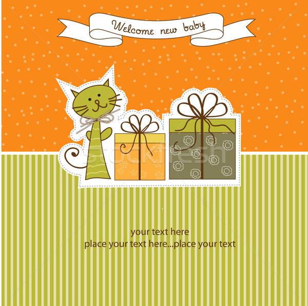 Születésnap közlemény kártya macska absztrakt háttér Stock fotó © balasoiu