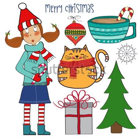 Christmas decoration elements set Stock photo © balasoiu
