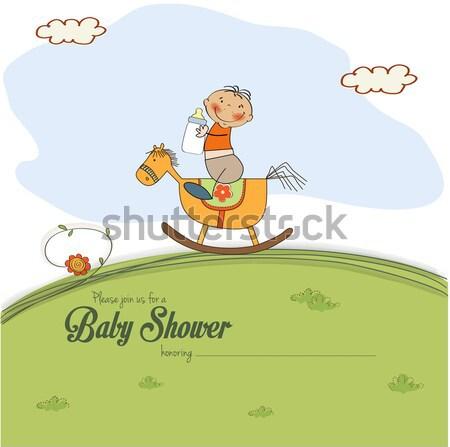 Little girl bebê anúncio cartão menina aniversário Foto stock © balasoiu