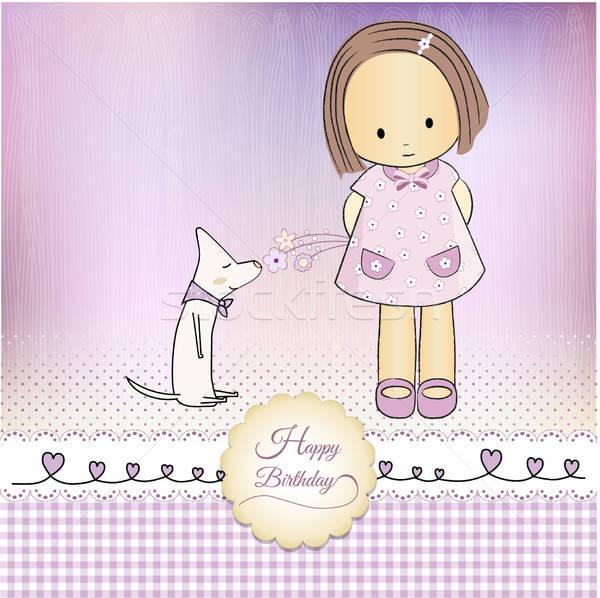 歳の誕生日 グリーティングカード 少女 赤ちゃん レース ロマンチックな ストックフォト © balasoiu