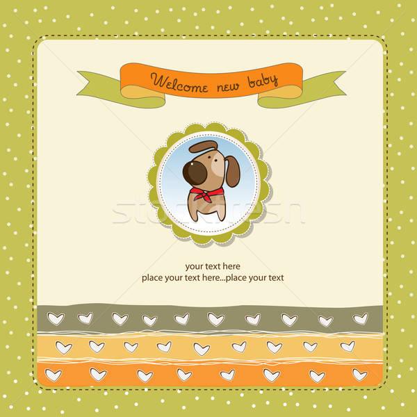 Romantica baby doccia carta cane ragazza Foto d'archivio © balasoiu