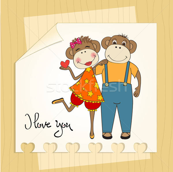 Apen paar liefde valentijnsdag kaart aap Stockfoto © balasoiu