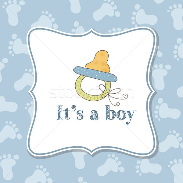 Baby boy  invitation for baby shower Stock photo © balasoiu