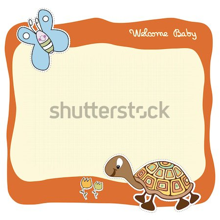 childish baby shower card with cartoon lion Stock photo © balasoiu