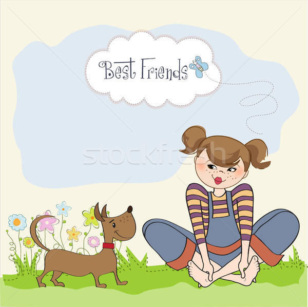 romantic girl sitting barefoot in the grass with her cute dog Stock photo © balasoiu