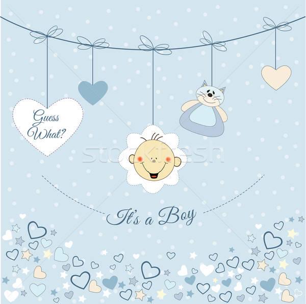 赤ちゃん 少年 発表 背景 青 面白い ストックフォト © balasoiu