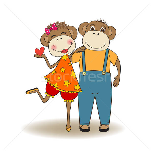 Macacos casal amor dia dos namorados cartão macaco Foto stock © balasoiu