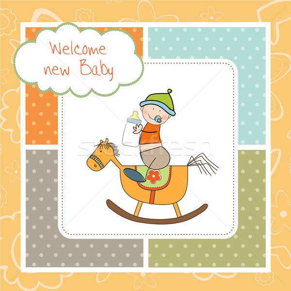 赤ちゃん 少年 シャワー 木材 馬 おもちゃ ストックフォト © balasoiu
