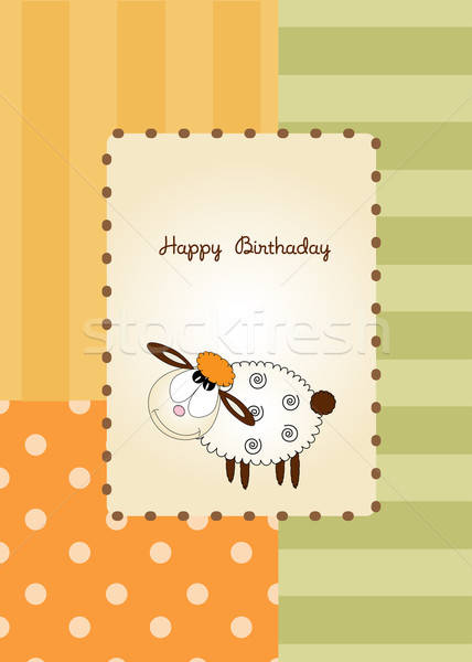 Stock photo: cute baby shower card with sheep