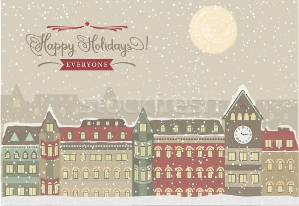 Stockfoto: Winter · stadsgezicht · christmas · illustratie · stad · straat
