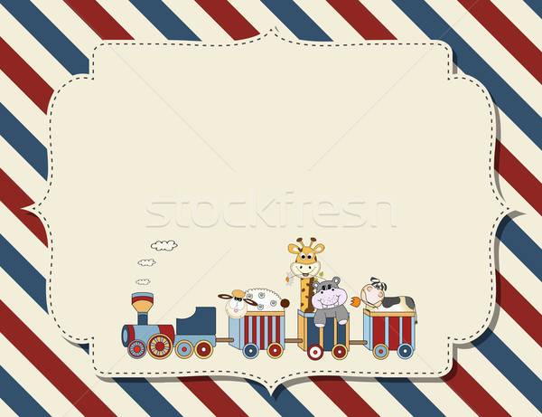 Aanpasbare kinderachtig baby douche aankondiging verjaardagsfeest Stockfoto © balasoiu
