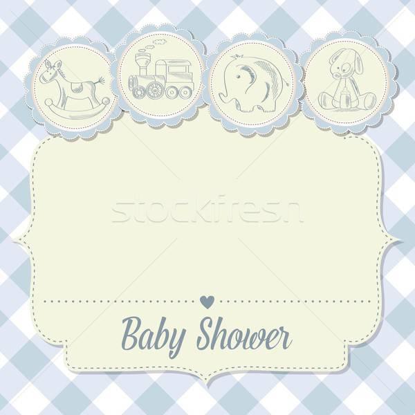 Baba fiú zuhany kártya retro játékok Stock fotó © balasoiu