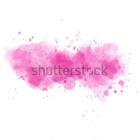 Rózsaszín vízfesték festett folt izolált fehér Stock fotó © balasoiu