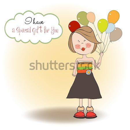 Kartkę z życzeniami chłopca duży szkatułce urodziny zabawy Zdjęcia stock © balasoiu