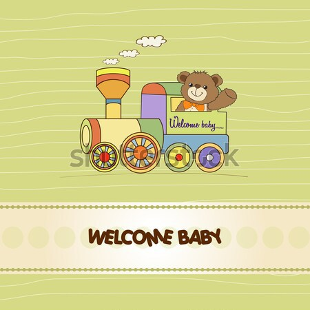 Bebek duş kart oyuncak tren doğum günü Stok fotoğraf © balasoiu