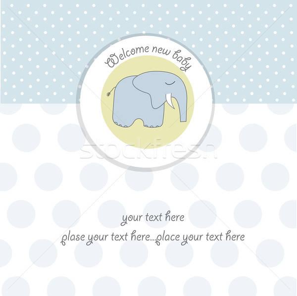 Nuevos bebé nino anuncio tarjeta elefante Foto stock © balasoiu