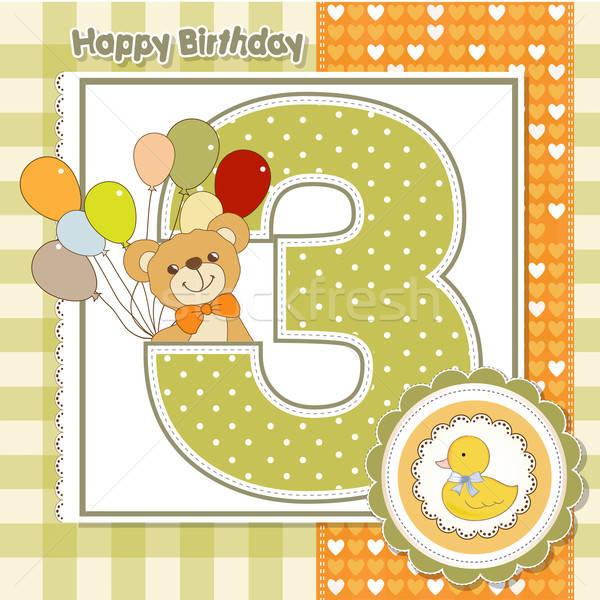 Troisième anniversaire bébé anniversaire web Photo stock © balasoiu