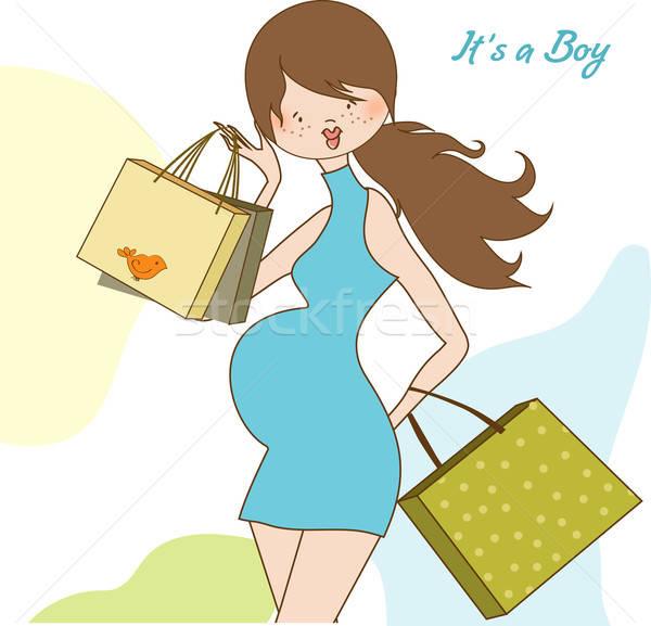 ストックフォト: 赤ちゃん · 発表 · カード · 美しい · 妊婦 · ショッピング