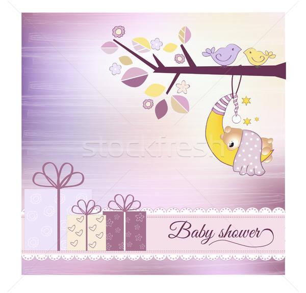 Bebek duş duyuru çiçekler ağaç sevmek Stok fotoğraf © balasoiu