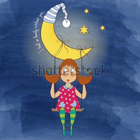 young pretty girl sitting down on a moon Stock photo © balasoiu