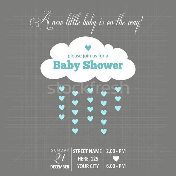 Stock photo: baby boy shower card