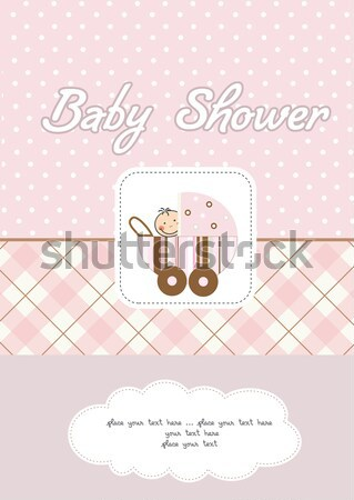 Baby douche kaart cute koe speelgoed Stockfoto © balasoiu